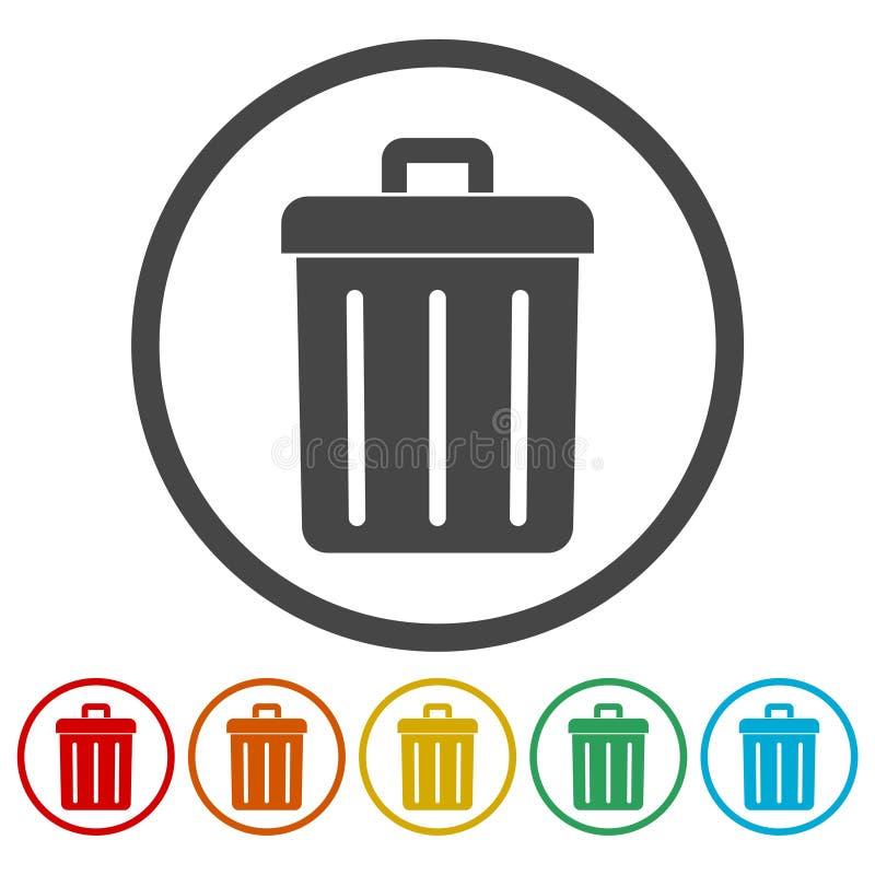传染媒介回收站被设置的垃圾和垃圾象 库存例证