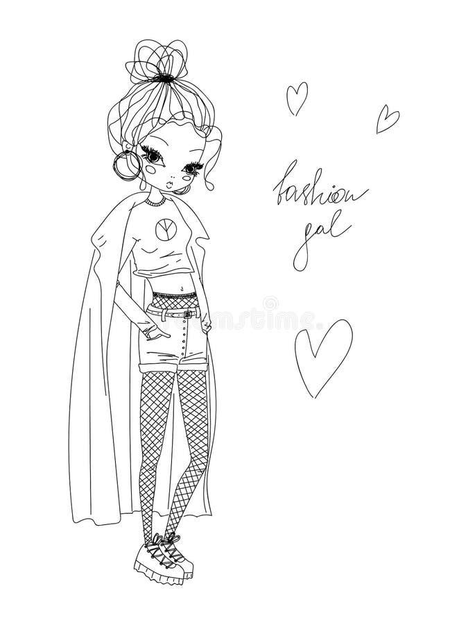 传染媒介时尚女孩线性例证 黑白时尚女孩手拉在穿时髦的衣裳,时尚gal的线艺术 库存例证