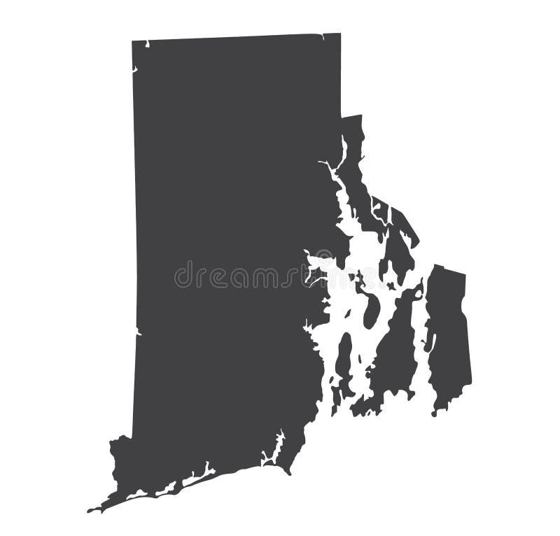 传染媒介罗德岛地图剪影 皇族释放例证