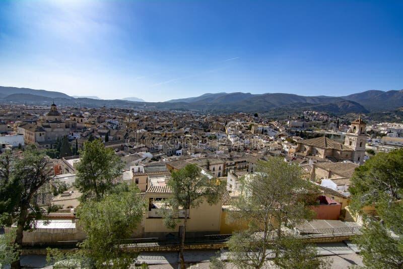 位于穆尔西亚的卡拉瓦卡德拉克鲁斯镇看法西班牙 免版税图库摄影