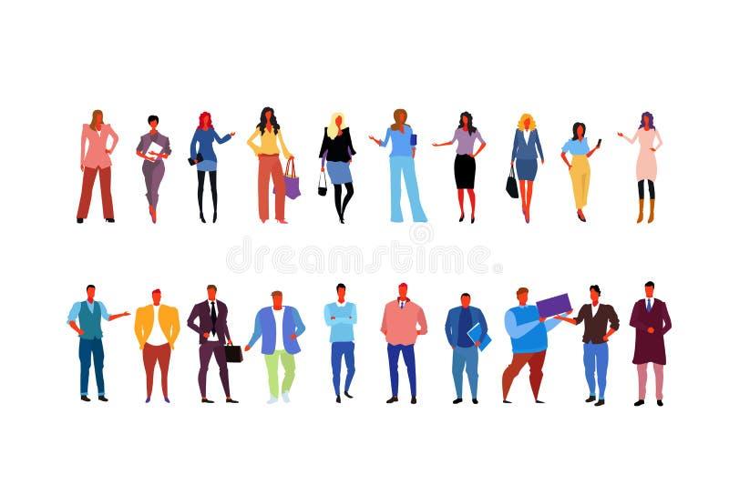 佩带时兴的不同的办公室工作者女商人人的被设置的时髦的商人站立全长的姿势 库存例证