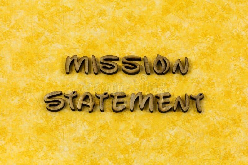 使命视觉声明经营战略行动印刷术词 免版税图库摄影