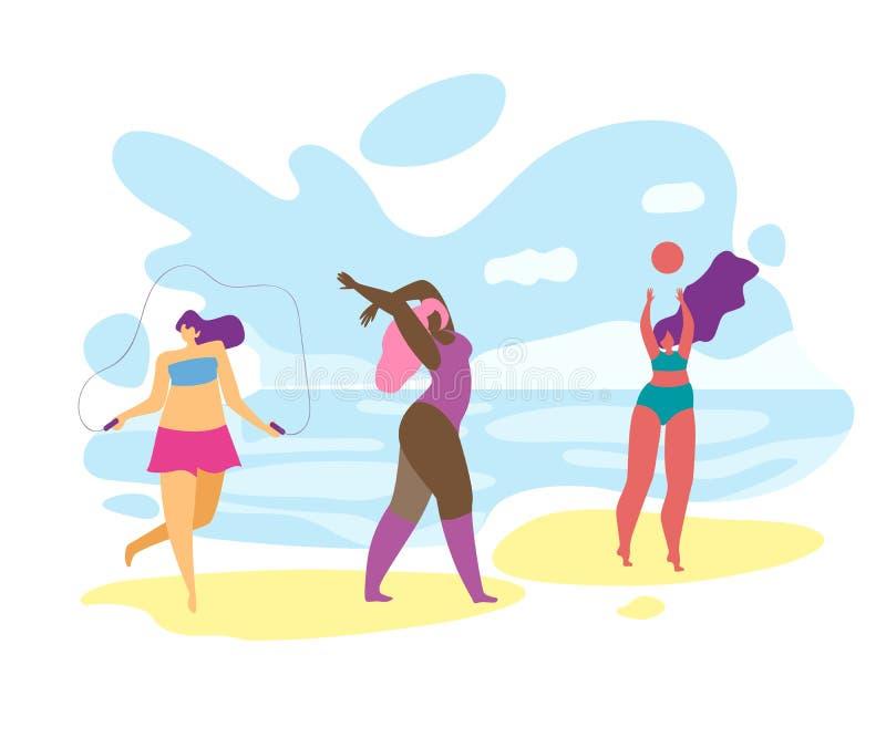 使用和放松在海边的超重女孩 向量例证