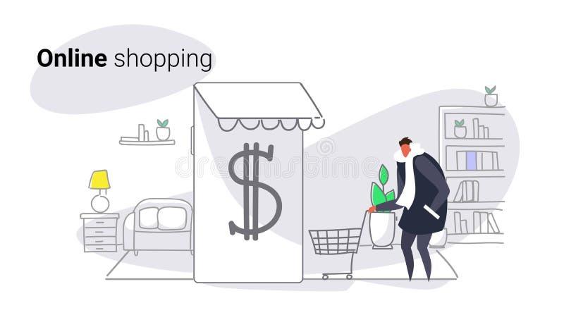 使用流动现代应用网上市场购物的概念男性顾客藏品台车卡片智能手机的屏幕的人 库存例证