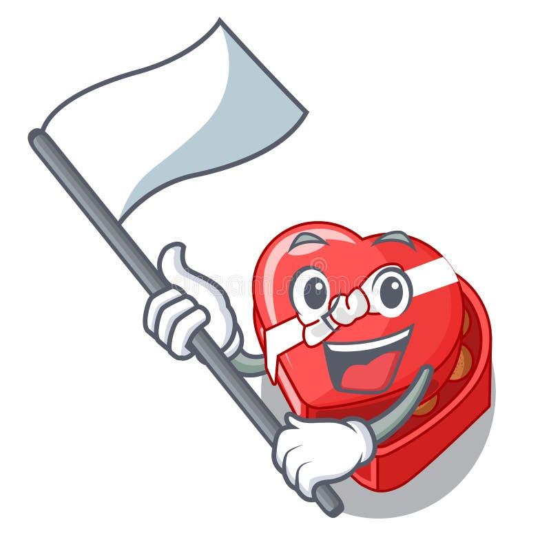 使用旗子巧克力在动画片冰箱上的心脏箱子 皇族释放例证