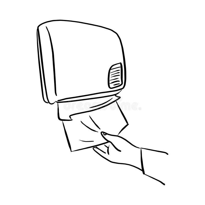 使用纸分配器的特写镜头手在与在白色背景隔绝的黑线的墙壁传染媒介例证 皇族释放例证