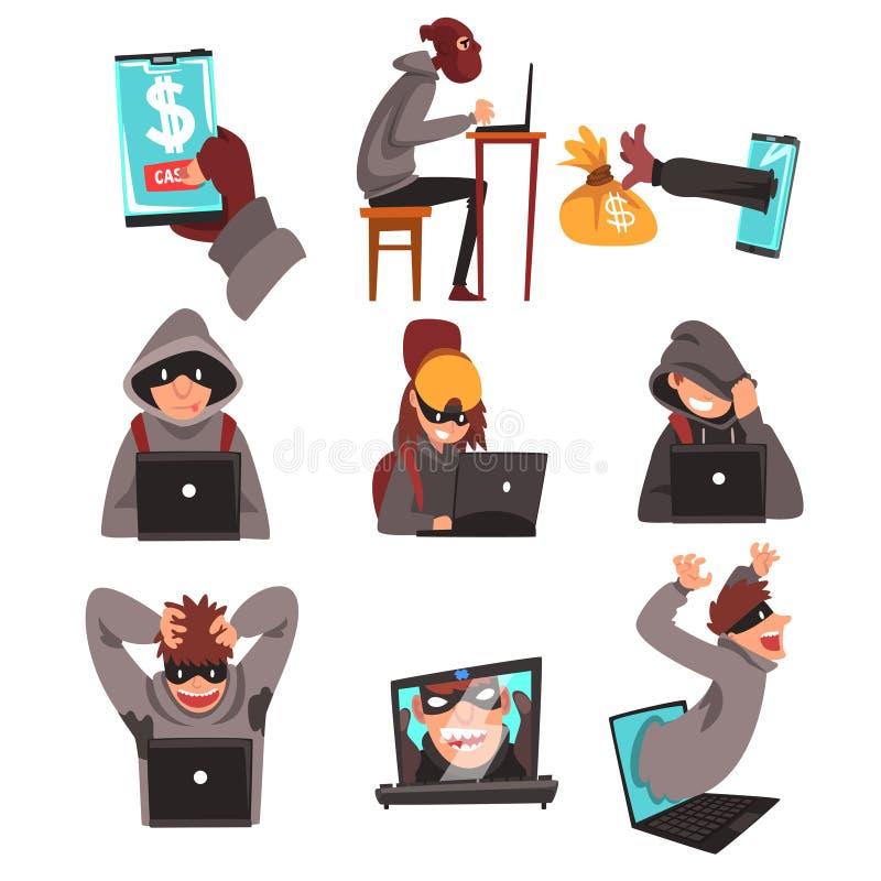 使用膝上型计算机集合,互联网罪行,计算机安全技术,黑客假装窃取信息和金钱 皇族释放例证