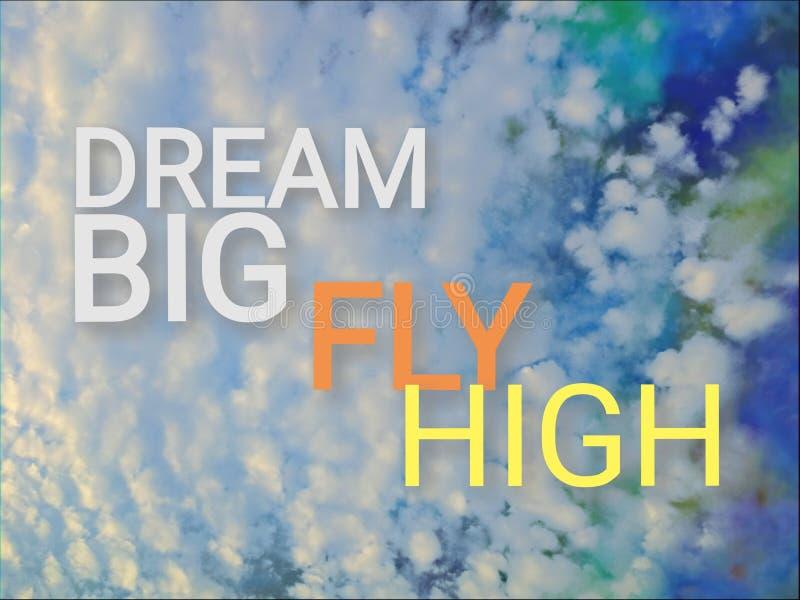 作为背景的五颜六色的蓬松云彩与词组梦想大飞行上流 皇族释放例证