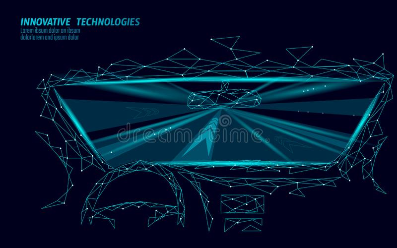 低多汽车沙龙视图通过挡风玻璃 高速高速公路快速的光线 多角形三角3D回报 皇族释放例证