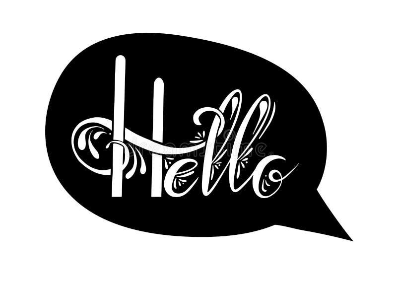 你好与装饰的手写的字法 行情消息泡影 对象是分别于背景 库存例证