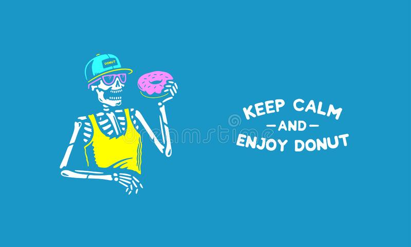 保留安静并且享用多福饼骨骼 库存例证