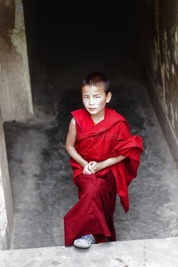 修士的男孩,儿童和尚 图库摄影