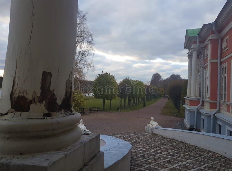 俄罗斯,莫斯科,Kuskovo公园,早晨在公园,Kuskovo夏天,莫斯科公园,庄园 免版税库存图片