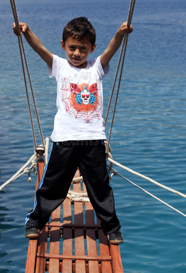 download turkish boy on a cruise ship near kekova in turkey editorial photography