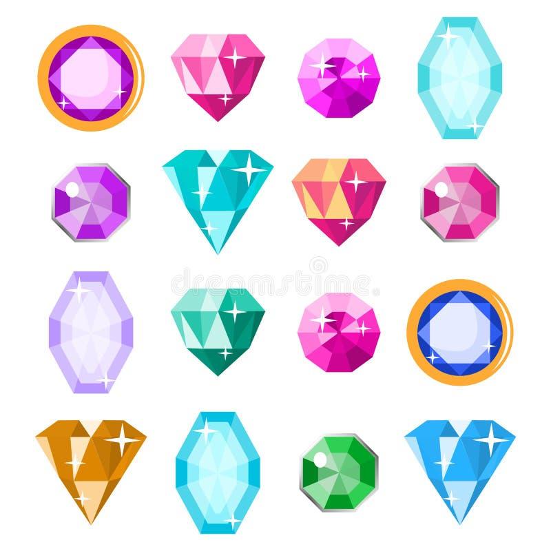 Ädelstenar ställde in vektorn Tecknad filmjuvlar, dyrbar diamantädelsten illustration royaltyfri illustrationer