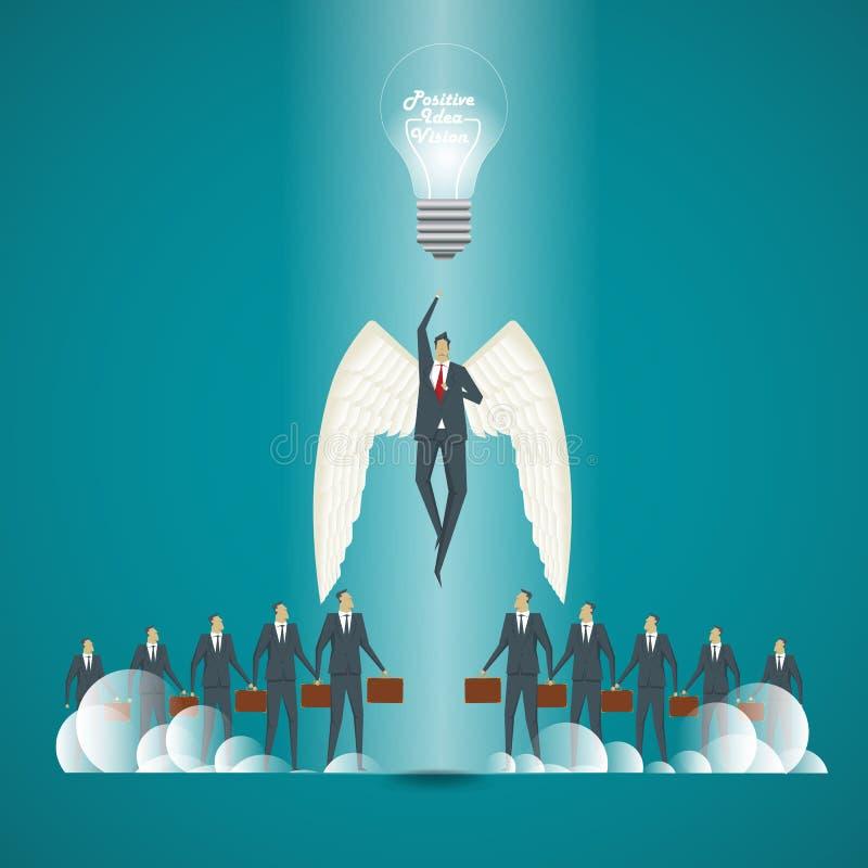 äganderätt för home tangent för affärsidé som guld- ner skyen till Affärsman med idéer och positiv vision för royaltyfri illustrationer