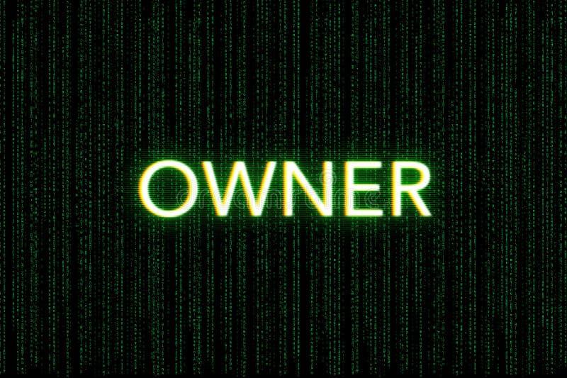 Ägare nyckelord av klungan, på en grön matrisbakgrund arkivbild
