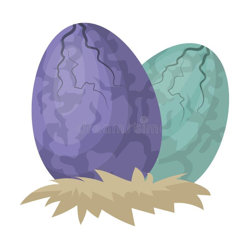 Ägg av dinosauriesymbolen i tecknad film utformar isolerat på vit bakgrund Dinosaurier och förhistorisk symbolmaterielvektor royaltyfri illustrationer