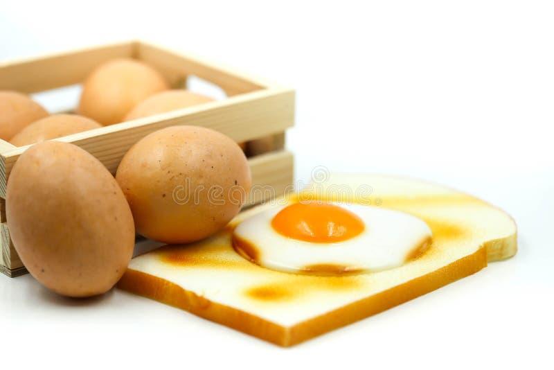 Ägg för frukost med rostat bröd arkivbild