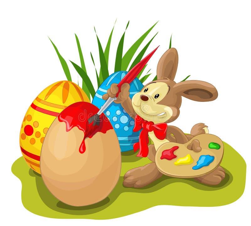 Ägg för påsk för påskkaninmålning arkivfoto