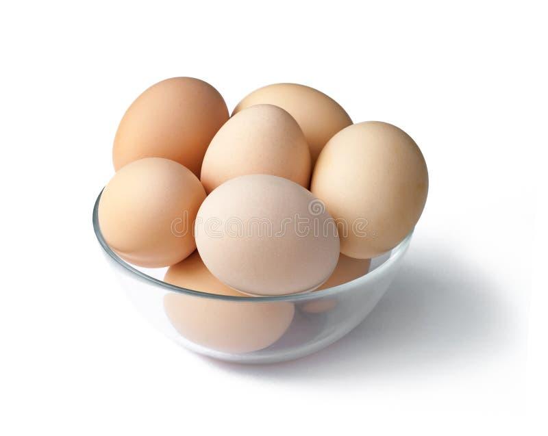 Ägg i en bunke som isoleras på vit bakgrund royaltyfria bilder
