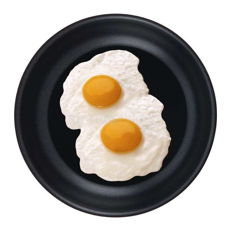 Ägg i en isolerad panna fotografering för bildbyråer