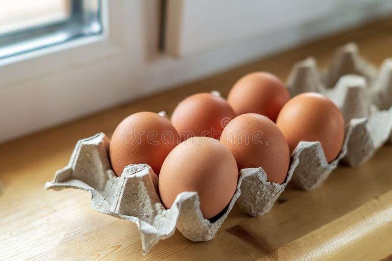 Ägg i en papppacke, under naturligt ljus arkivfoto