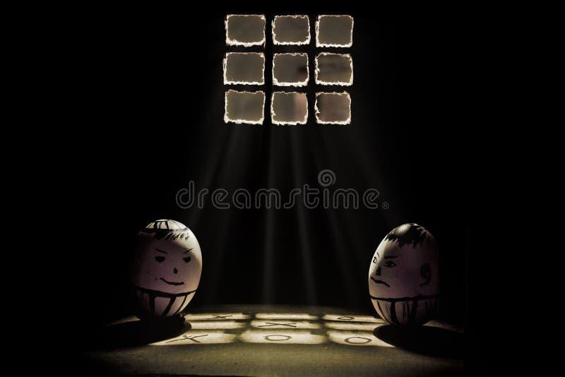 Ägg i fängelse stock illustrationer