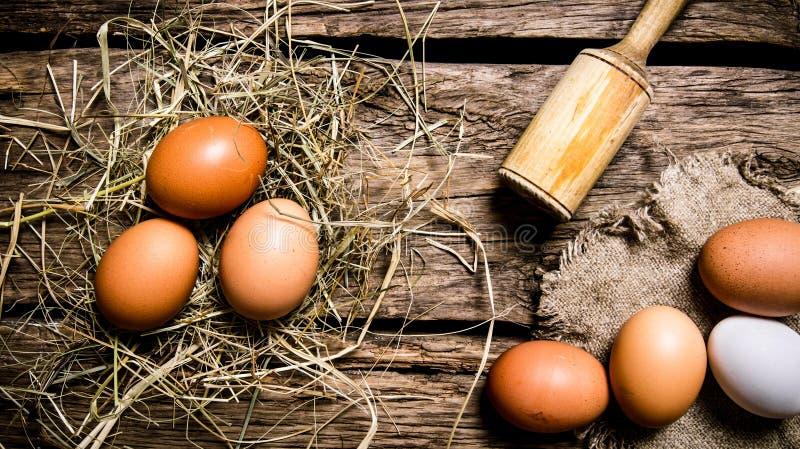Ägg i höet med en mortelstöt trägrund tabell för djupfält royaltyfria bilder