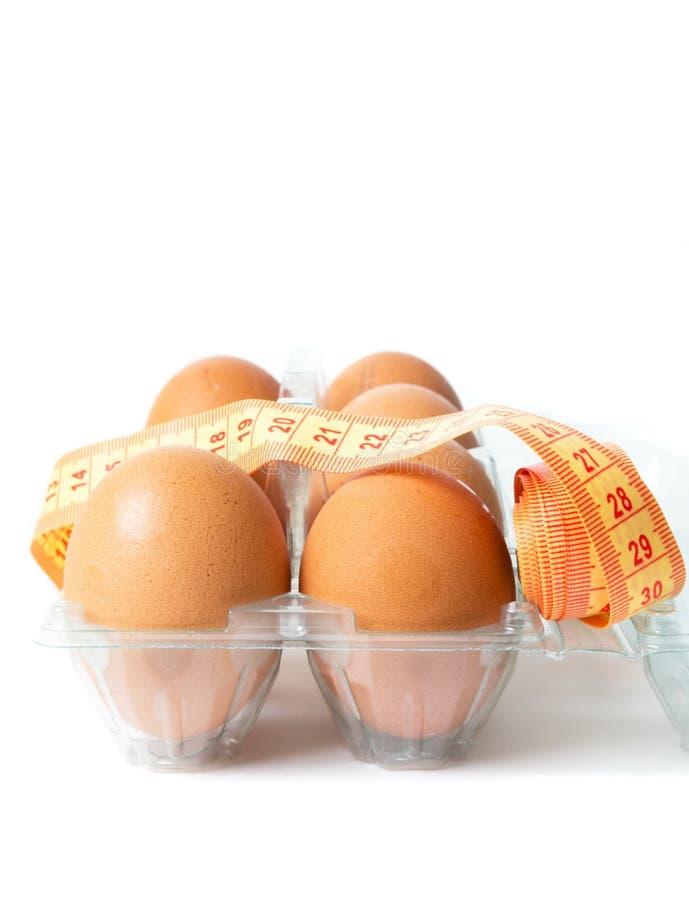 Ägg med bantar metern arkivbild