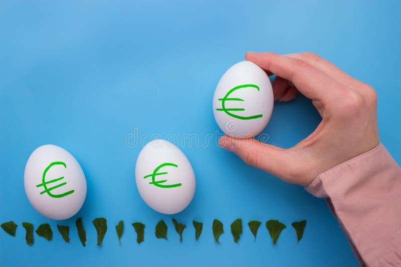 Ägg med eurosimbol arkivfoton