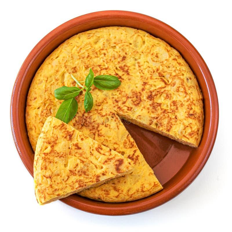 Ägg- och potatisomelett - autentiska spanska tortilla tapas de patatas Smaklig omelett som isoleras på vit bakgrund, bästa sikt royaltyfri foto