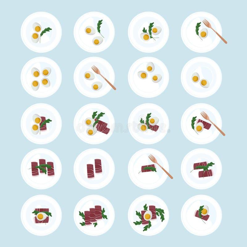 Ägg, skinka och arugula stock illustrationer