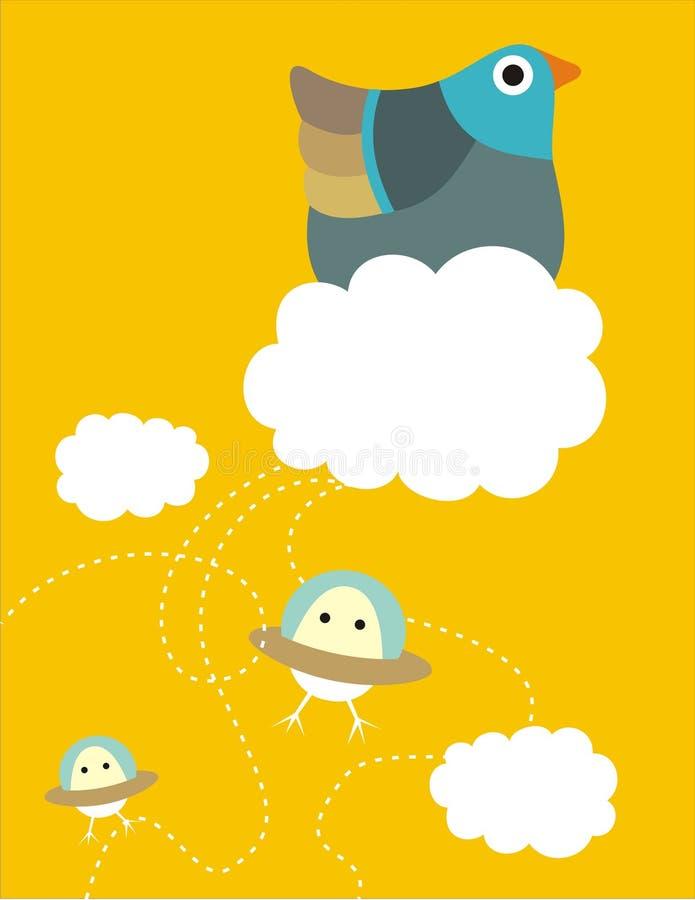 ägg som flyger hönasauceren royaltyfri illustrationer