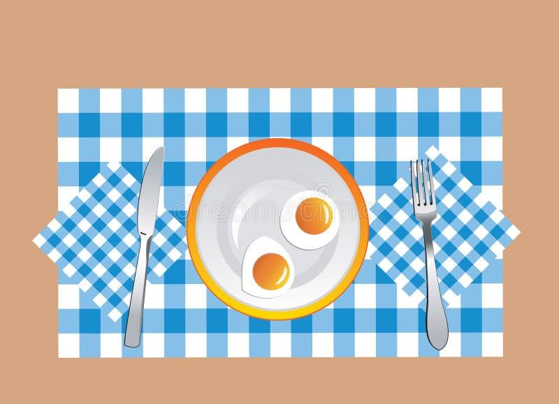 ägg stekte vektorn royaltyfri illustrationer