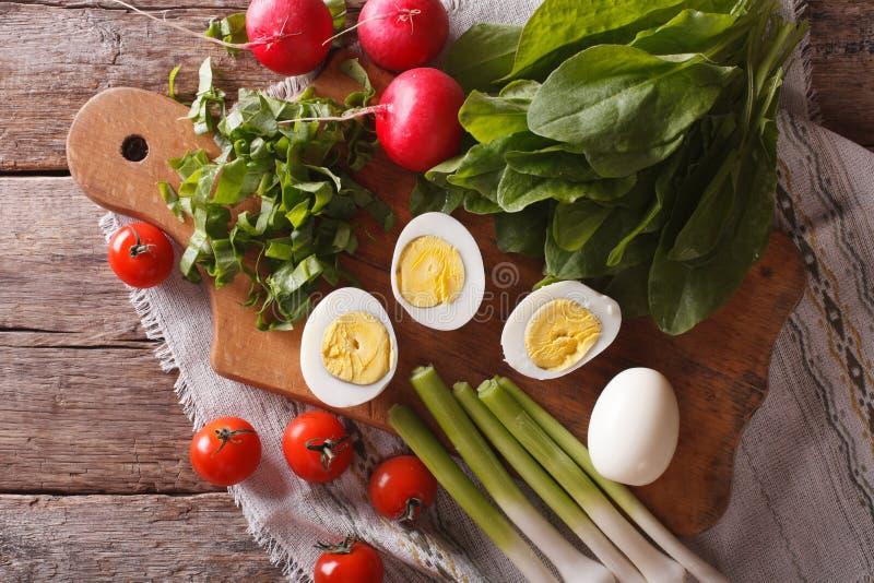 Ägg, syra, rädisor och tomater horisontalbästa sikt royaltyfri foto