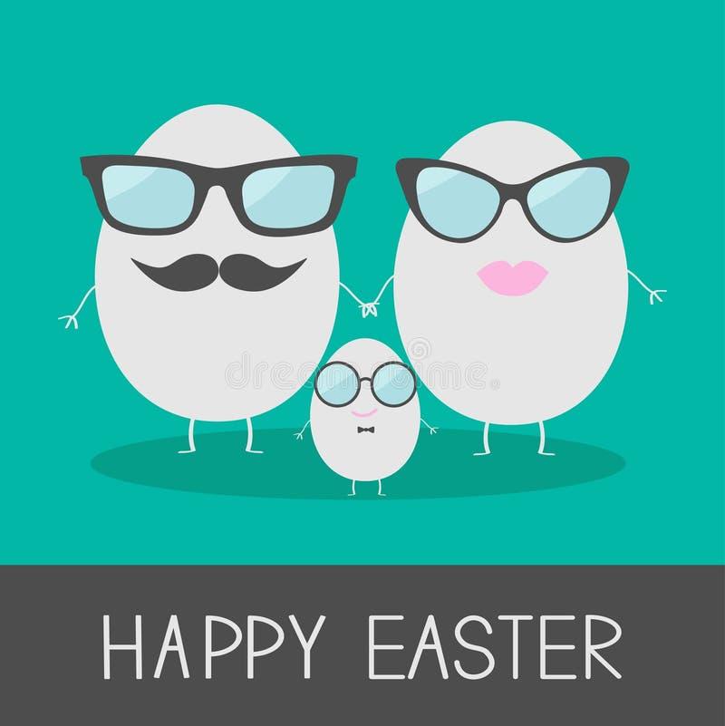 Äggeaster familj med kanter, mustascher och glasögon. Gulligt och vektor illustrationer