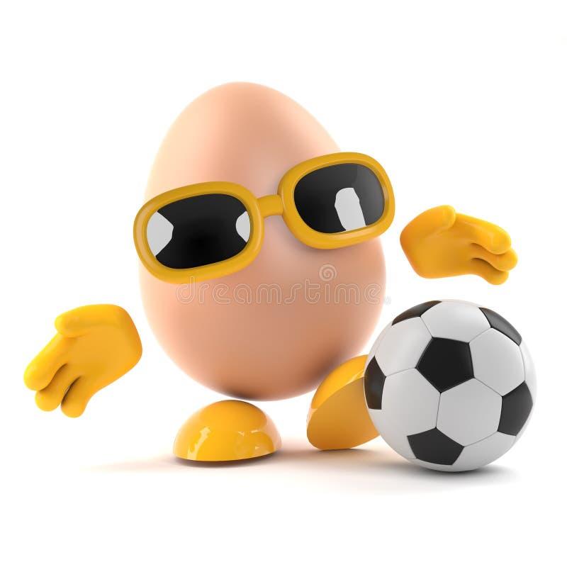 ägget 3d spelar fotboll vektor illustrationer
