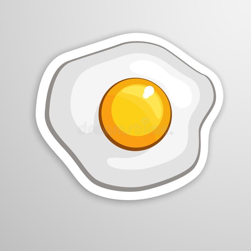 ägget stekte en Garnering för hälsningkort, tryck för kläder, affischer, menyer Tecknad filmklistermärke i komisk stil stock illustrationer