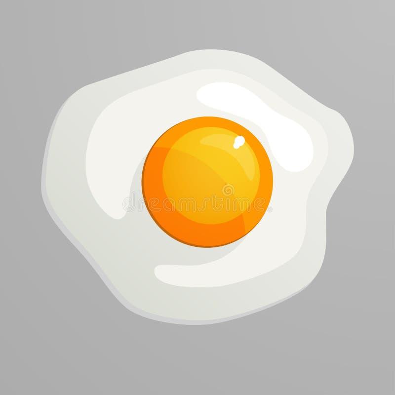 ägget stekte en Garnering för hälsningkort, tryck för kläder, affischer, menyer Vektorillustration i plan stil stock illustrationer