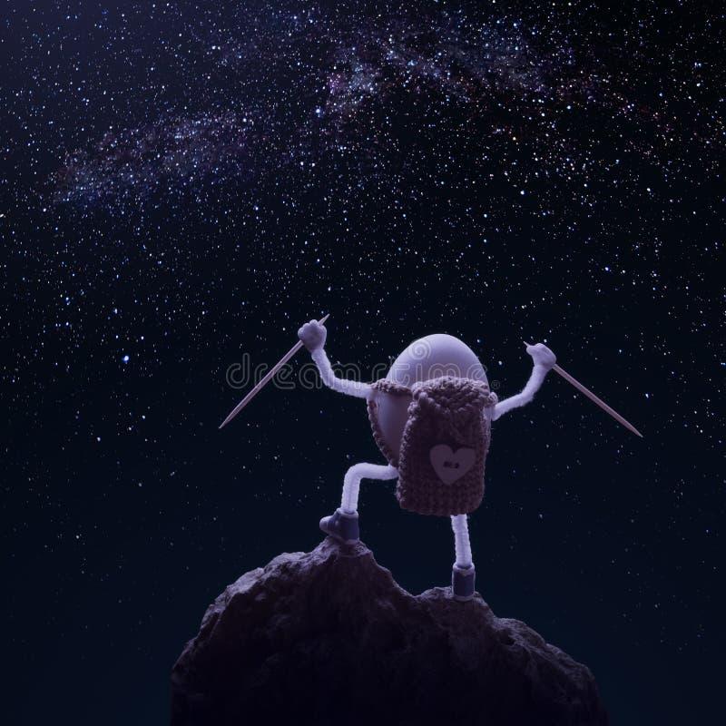 Äggfotvandrareanseendet på en klippa och tycker om stjärnklar himmel royaltyfria foton
