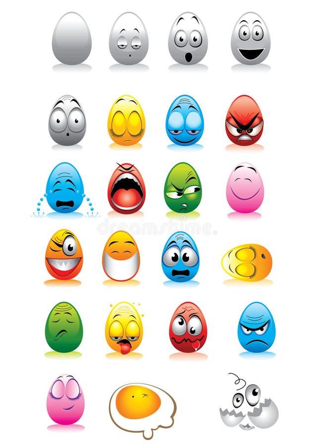 äggframsidasmilies vektor illustrationer
