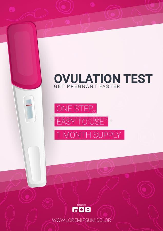 Ägglossningprov som planerar havandeskapbanret med kvinnligt reproduktivt för ägglossning eller för graviditetstest, fertilitet e vektor illustrationer