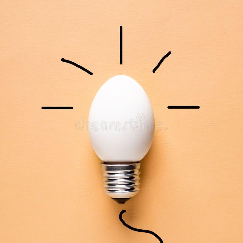 Äggskal för ljus kula på grundbegreppsenergi - besparing arkivfoto