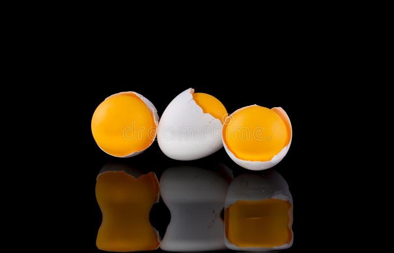 Äggskal med den orange bollen på en svart bakgrund arkivfoton