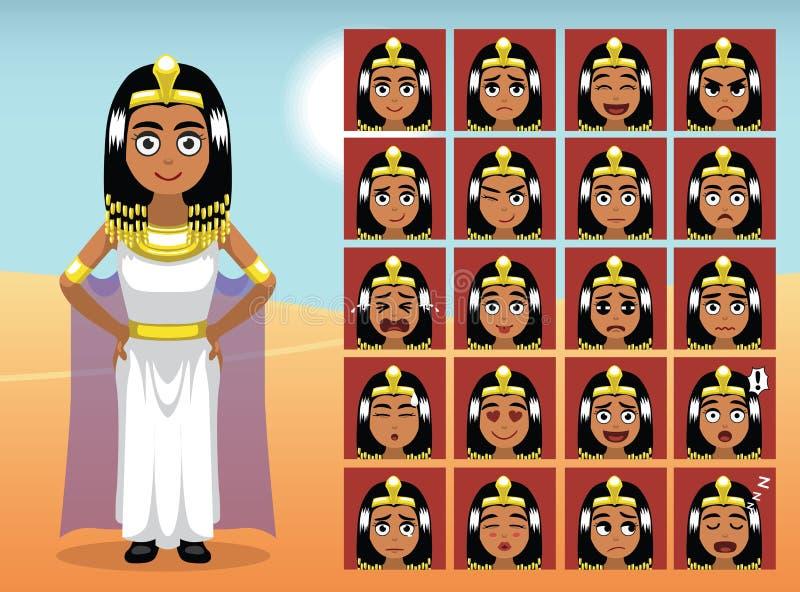 Ägypten Cleopatra Cartoon Emotion stellt Vektor-Illustration gegenüber lizenzfreie abbildung