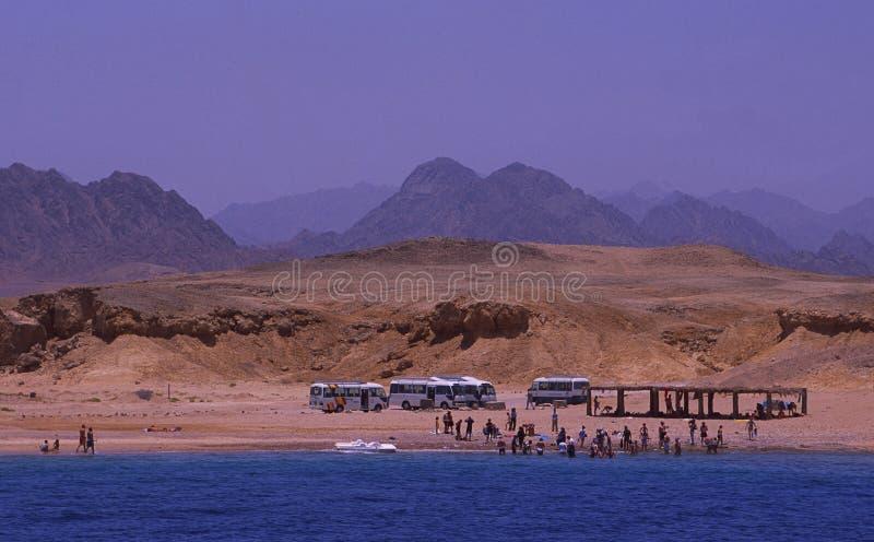 Ägypten: Der Strand bei Ras Mohammed nahe Sharm el Sheikh in Sinai mit Touristen lizenzfreie stockfotografie