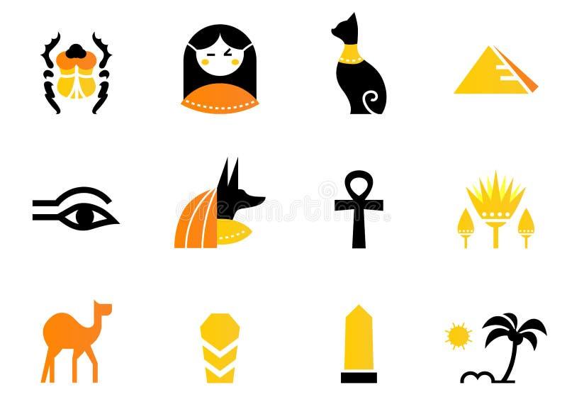 Ägypten-Ikonen und Auslegungelemente getrennt auf Weiß. stock abbildung