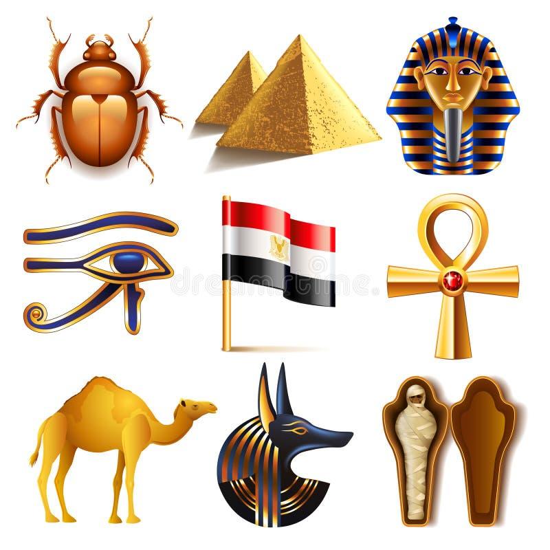 Ägypten-Ikonenvektorsatz stock abbildung