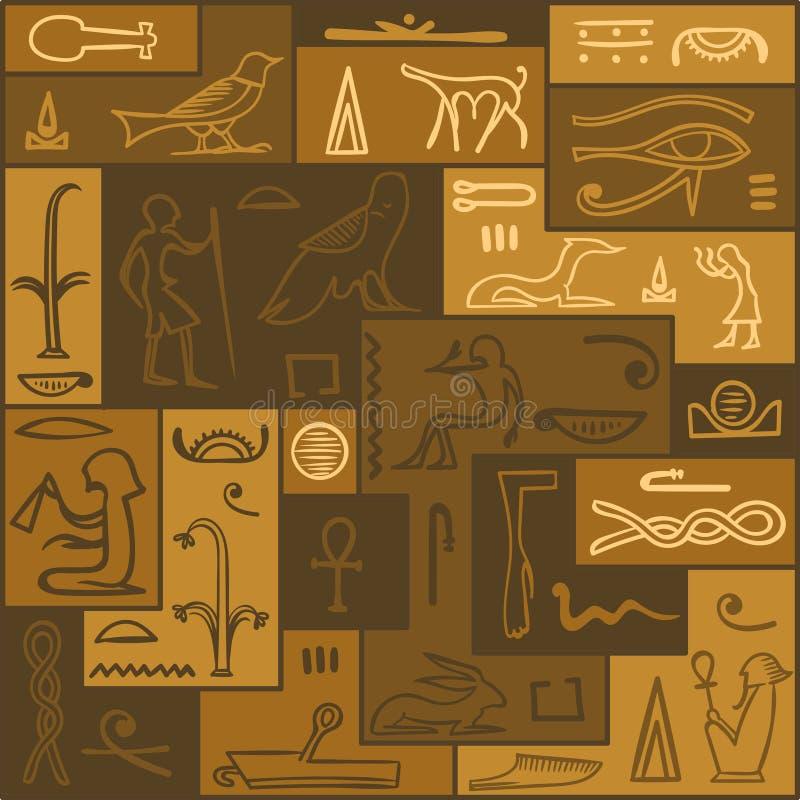 Ägypten-Muster Hieroglyphenhintergrund vektor abbildung